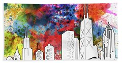 Chicago Skyline Panorama Watercolor Hand Towel