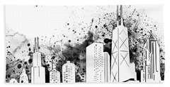 Chicago Skyline Panorama White Hand Towel