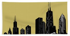 Chicago Skyline Panorama Yellow Hand Towel