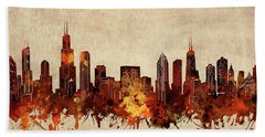 Chicago Skyline Sepia Hand Towel