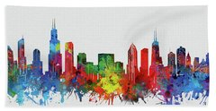 Chicago Skyline Watercolor 2 Hand Towel