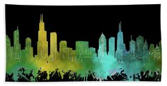 Chicago Skyline Watercolor 3 Hand Towel