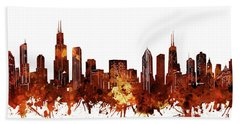 Chicago Skyline Watercolor 6 Hand Towel