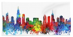 Chicago Skyline Watercolor Hand Towel