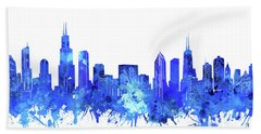 Chicago Skyline Watercolor Blue Hand Towel