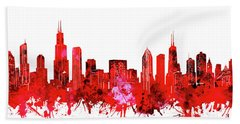Chicago Skyline Watercolor Red Hand Towel