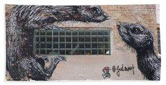 Chicago Street Art, Graffiti, Rats Bath Towel