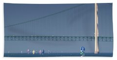 Chicago To Mackinac Yacht Race Sailboats With Mackinac Bridge Bath Towel