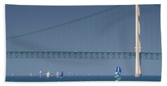 Chicago To Mackinac Yacht Race Sailboats With Mackinac Bridge Hand Towel