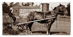 Child Farmer On A Horse Drawn Hay Rake - 1915 Hand Towel