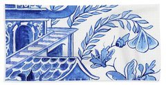 Chinoiserie Blue And White Pagoda Floral 1 Bath Towel