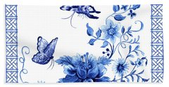 Chinoiserie Blue And White Pagoda With Stylized Flowers Butterflies And Chinese Chippendale Border Bath Towel
