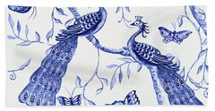 Chinoiserie Blue And White Peacocks And Butterflies Bath Towel