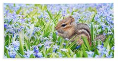 Chipmunk On Flowers Bath Towel
