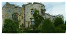 Chirk Castle Painting Bath Towel