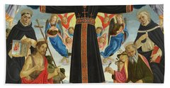Christ On The Cross With Saints Vincent Ferrer, John The Baptist, Mark And Antoninus, 1495 Hand Towel