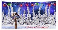 Christmas Card With Bird House Bath Towel