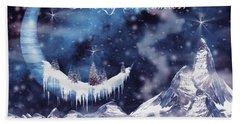 Christmas Card With Frozen Moon Bath Towel