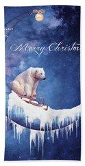 Christmas Card With Moon And Bear Bath Towel