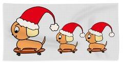Christmas Dogs On Skateboards Hand Towel