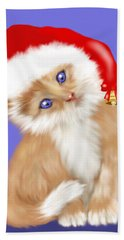 Christmas Kitten Hand Towel