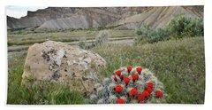 Clarion Cactus Blooms In Book Cliffs Bath Towel