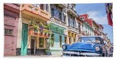Classic Car In Havana, Cuba Bath Towel