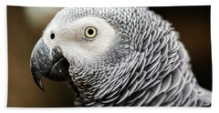 Close Up Of An African Grey Parrot Bath Towel