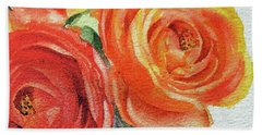 Close Up Of Ranunculus Flowers Watercolor Bath Towel