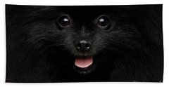 Close-up Portrait Of Happy Pomeranian Spitz Dog Hand Towel