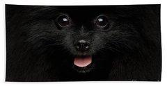 Close-up Portrait Of Happy Pomeranian Spitz Dog Bath Towel