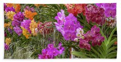 Closeup Details Of Multi-colored Orchids  Hand Towel