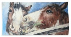 Hand Towel featuring the painting Clydesdale Pair by Ryn Shell