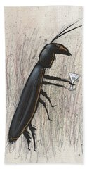Cockroach With Martini Hand Towel