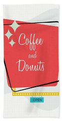 Bath Towel featuring the digital art Coffee And Donuts- Art By Linda Woods by Linda Woods