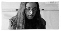 College Student With Octagonal Eyeglasses, 1972 Bath Towel