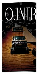 Color Country Music Guitar Notes Bath Towel