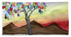 Colored Tree Hand Towel