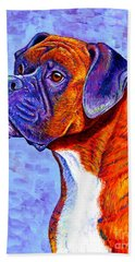Colorful Brindle Boxer Dog Hand Towel