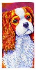 Colorful Cavalier King Charles Spaniel Dog Bath Towel