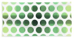 Colorful Dots Pattern - Polka Dots - Pattern Design 6 - Cream, Aqua, Teal, Olive, Green Bath Towel