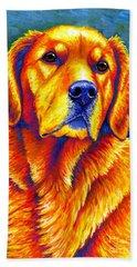 Colorful Golden Retriever Dog Hand Towel