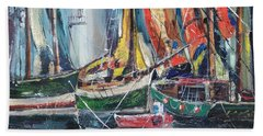 Colorful Harbor Hand Towel