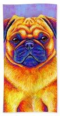 Colorful Rainbow Pug Dog Portrait Hand Towel