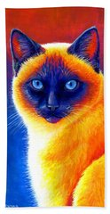 Colorful Siamese Cat Hand Towel