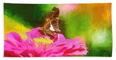 Colorful Silver Spotted Skipper Butterfly Hand Towel