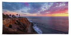 Colorful Sky After Sunset At Point Vicente Lighthouse Hand Towel