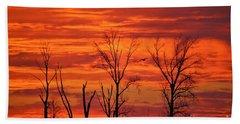 Colorful Sunrise Trees Bath Towel