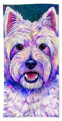 Colorful West Highland White Terrier Blue Background Bath Towel