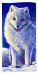 Colorful Winter Arctic Fox Hand Towel